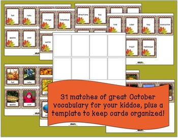Fall Activities for Word of the Day Memory Game