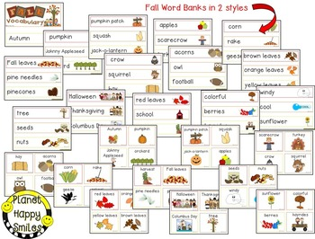 Fall Activity ~ Count the Letters in Fall Words and Fall Word Bank