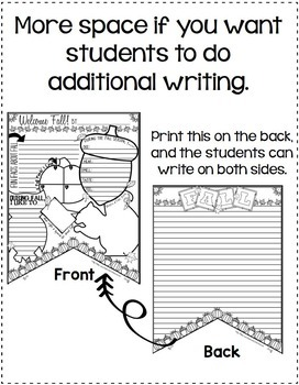 Fall Writing Activity: Banner with Fall Writing Prompts: Bulletin Board