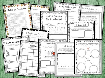 Fall Activity Pack:  20 Fall Themed Creative Thinking Activities!