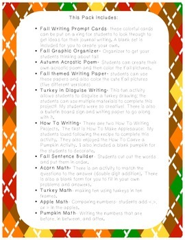 Fall Activity Pack *Literacy and Math