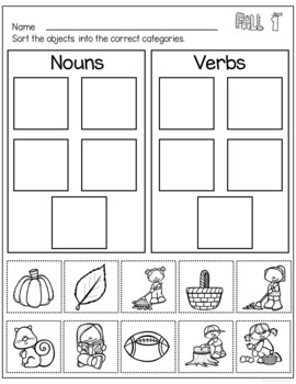 Fall Activities Freebie for Nouns and Verbs