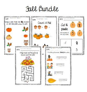 Fall Activity & Worksheet Bundle *Busy Work* (contains nam
