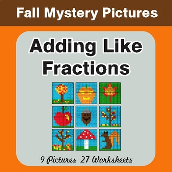 Fall: Adding Like Fractions - Color-By-Number Math Mystery Pictures