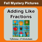Fall: Adding Like Fractions - Color-By-Number Mystery Pictures