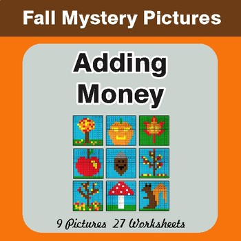 Fall: Adding Money - Color-By-Number Math Mystery Pictures