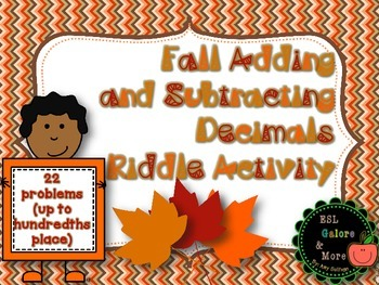 Fall Adding and Subtracting Decimals Riddle