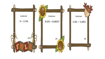 Fall Adding and Subtracting Decimals Task Cards