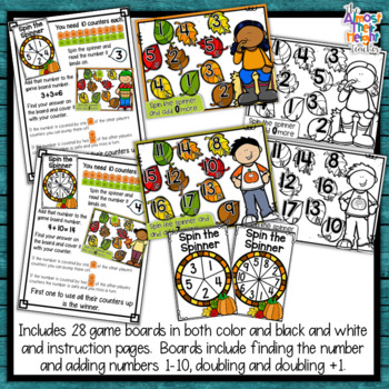 Addition Bump Games ~ Fall/Autumn ~ adding numbers 1-10 and doubles