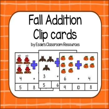 Fall Addition Clip Cards