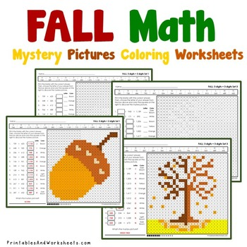 Fall Addition Worksheets, Autumn Math Coloring Pages