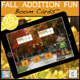 Fall Math Games Addition 1-10 BOOM CARDS | Fall Centers Kindergarten 1st Grade