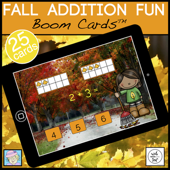 Fall Math Games Addition 1-10 BOOM CARDS   Fall Centers Kindergarten 1st Grade