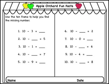 Fall, Addition/Subtraction Story Problems & Math Fact Practice with Ten Frames