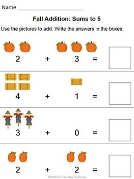 Fall Addition & Subtraction Within 5