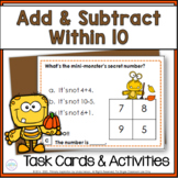Autumn Addition & Subtraction Math Riddle Task Card Activities
