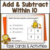 Autumn Addition & Subtraction Math Riddle Task Card Activities