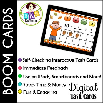 Fall Addition & Subtraction within 10 ● Digital Task Cards ● Boom Cards ● Math