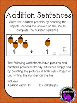 Fall Addition Within 10: Number Sentences