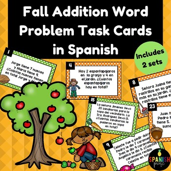 Fall Addition Word Problems in Spanish (Problemas de cuento sumas otono)
