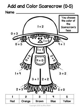 Fall/Autumn Addition and Subtraction Coloring (0-10)