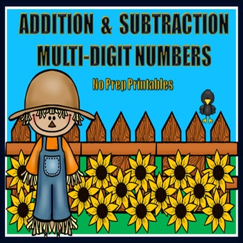 Multi-Digit Addition and Subtraction - Fall Themed Printables