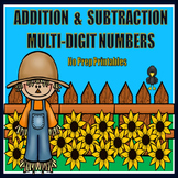Multi-Digit Addition and Subtraction Printables {Fall}