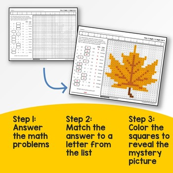 Fall Addition and Subtraction Mystery Pictures