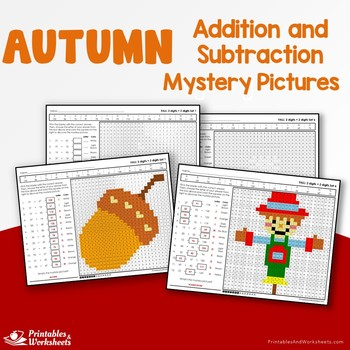 Fall Addition and Subtraction Math Worksheets Mystery Pictures