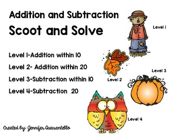 Fall Addition and Subtraction Scoot-4 Levels