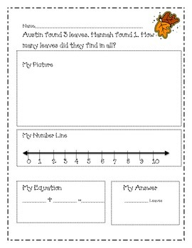 Fall Addition and Subtraction Stories