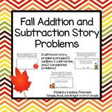 Fall Addition and Subtraction Story Problems