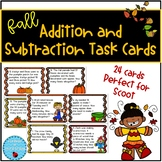 Fall Task Cards Addition and Subtraction