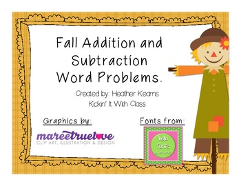 Fall Addition and Subtraction Word Problem {freebie}