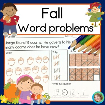 Fall Addition and Subtraction Word Problems for First Grade