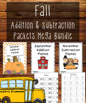 Fall Addition and Subtraction Worksheet Packets Bundle {Just Print & Go!}