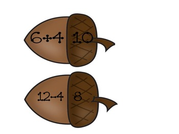 Fall Addition and Subtraction acorns