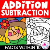 Fall Addition and Subtraction to 10 Color by Number Set |