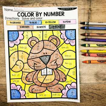 Fall Addition and Subtraction to 18 Color by Number No Prep Printables