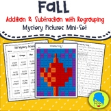 Fall Addition and Subtraction with Regrouping Mystery Pictures Mini-Set