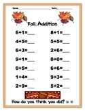 Fall! Addition practice worksheet