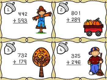 Fall Addition with Regrouping Math Centers- With and without QR codes