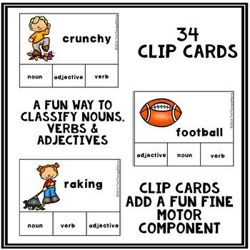 Fall Adjective, Noun and Verb Task Cards