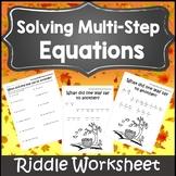 Autumn Algebra 1 Activities {Thanksgiving Algebra 1 and 2 Activity Worksheet}