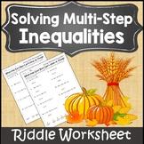 Solving Inequalities Activity Fall {Autumn Algebra 1 and 2 Activity Worksheet}