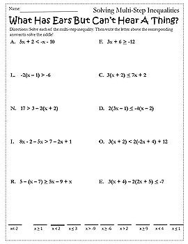 Solving Inequalities Activity Fall Autumn Algebra 1 And 2 Activity Worksheet