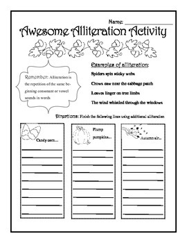 Fall Alliteration Worksheet