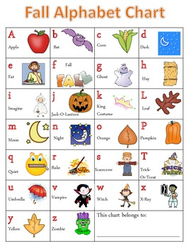 Fall Alphabet Chart and Writing Pages