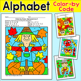 Fall Color by Letters of the Alphabet Activity - Letter Recognition Worksheets