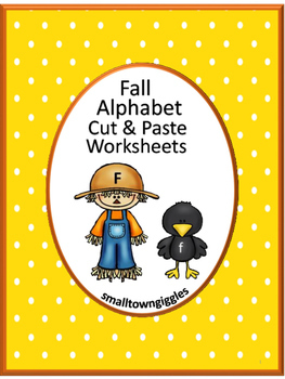 Fall Alphabet Cut and Paste Worksheets P-K, K, Special Edu